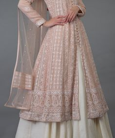 Oyster Pink Chikankari With Kamdani Anarkali Outfit - clothes drawing Pakistani Dresses Casual, Indian Gowns Dresses, Indian Fashion Dresses, Dress Indian Style, Indian Designer Outfits, Indian Outfits, Designer Dresses, Party Wear Dresses, Dress Suits