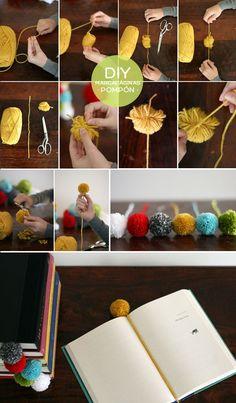DIY marcapaginas pompon