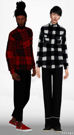 Male Colors Plaid Shirt for The Sims 4 by Shunga