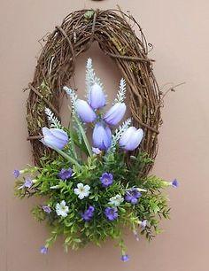 "16"" Oval Lavender Tulip White Purple Mixed Floral Spring Grapevine Door Wreath Wreath Crafts, Diy Wreath, Grapevine Wreath, Spring Door Wreaths, Summer Wreath, Winter Wreaths, Tulip Festival, Artificial Flower Arrangements, Faux Flowers"