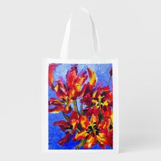 Shop Blue Impression Reusable Grocery Bag created by Buy_ArtDuo. Tulips Flowers, Blue Flowers, Reusable Shopping Bags, Reusable Tote Bags, Bags Uk, Save The Planet, Holiday Photos, Acrylic Painting Canvas, Go Shopping
