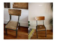 chaise colier enfant revisit e style vintage industriel r novation petits meubles perso et. Black Bedroom Furniture Sets. Home Design Ideas