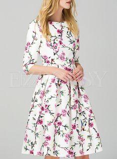 Floral Print Mid Sleeve Aline Dress