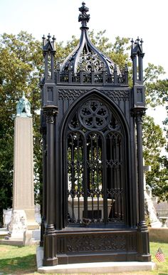 """Hollywood Cemetery in Richmond, VA. The Victorian Gothic, cast iron tomb of PRESIDENT JAMES MONROE, sometimes referred to as the """"birdcage,"""" was erected in Hollywood Cemetery in Cemetery Monuments, Cemetery Art, Cemetery Headstones, Hollywood Cemetery, Old Cemeteries, Graveyards, James Monroe, Famous Graves, Virginia Is For Lovers"""