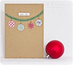Simple Christmas card / good idea for wrapped present also Chrismas Cards, Simple Christmas Cards, Homemade Christmas Cards, Christmas Wrapping, Handmade Christmas, Homemade Cards, Holiday Cards, Christmas Diy, Button Christmas Cards