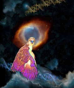 """Philippine Eagle with Helix Nebula Contact: Marv Lyons - 619.691.8776  lyons@visionsynthesis.net  13"""" x 19"""" print on fine watercolor paper or canvas $535 • Shipping Extra"""