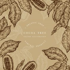 Chocolate Cacao, Chocolate Quotes, Tree Templates, Tree Illustration, Instagram Tips, Packaging Design, Character Art, Digital Art, Beaded Bracelets