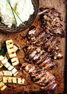 Whip up a marinade of (gluten-free) soy sauce, olive oil, lemon juice, honey, garlic salt, and oregano for a dinner of juicy grilled chicken breast and freshly grilled vegetables.