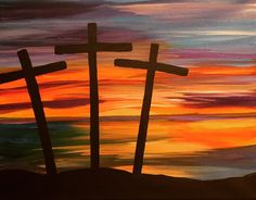 """Love - """"Three Crosses"""" – Painting with Tanya Easy Canvas Art, Easy Canvas Painting, Easy Art, Canvas Ideas, Acrylic Painting For Beginners, Beginner Painting, Edward Viii, Cross Canvas Paintings, Christian Paintings"""