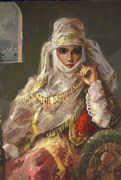 Portrait of a lady.  Artist Remzi Taskirn.