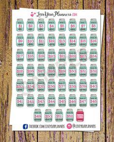 Budgeting Finances Discover 52 Week Savings Challenge Planner Stickers Savings Stickers Mason Jar Stickers Money Stickers Savings Tracker Stickers Fits ANY Planner 52 Week Savings Challenge, Money Saving Challenge, Saving Money Chart, Money Saving Tips, Managing Money, Saving Ideas, Money Tips, Planner Stickers, 52 Week Saving Plan