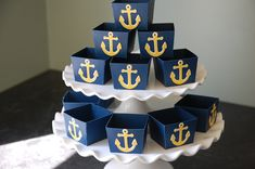 Anchor Candy Cups, Nautical Party Supplies, Nut Cups, Nautical Favors, Navy with… Nautical Favors, Nautical Centerpiece, Nautical Theme, Nautical Anchor, Nautical Bridal Showers, Nautical Wedding, Marine Party, Baby Shower Marinero, Anchor Party