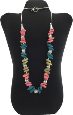 Funky Coral,Teal and Olive Green Wood and Silver Bead Necklace