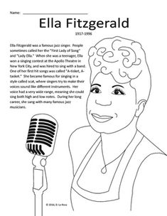 ella fitzgerald biography coloring page and word search