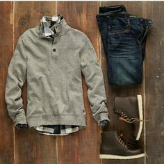 Mens Fashion Rugged – The World of Mens Fashion Komplette Outfits, Casual Outfits, Men Casual, Fashion Outfits, Casual Winter, Casual Chic, Mode Man, Mode Masculine, Outfit Grid