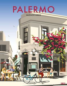 Posters inspired from the neighbourhoods and cultural hubs of buenos aires Vintage Travel Posters, Vintage Postcards, Vintage Ski, Palermo, City Poster, Vintage Hawaii, Travel Illustration, Poster Prints, Pictures