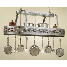 Hi-Lite Leaf Rounded Hanging Pot Rack with 3 Lights Accent Finish: Silver Accents, Copper Insert: Yes, Base Finish: Black Leather