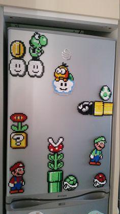 Rétro Nintendo Pixel Art Mario frigo Magnet scène (1) comprend : Luigi, Yoshi et autres... VENDEUR BRITANNIQUE