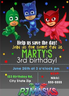 Pj Masks Birthday Invitation Multiple Party Invitations FREE