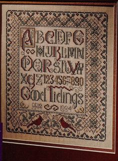 Cardinal Sampler by Paricia Andrale. This pattern was published in the Nov/Dec 1994 edition of Cross Stitch and Country Crafts. The pattern is no longer available.