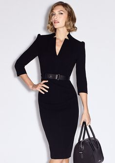 Like sleeves and belt Belted Black Pencil Dress f119805edec0