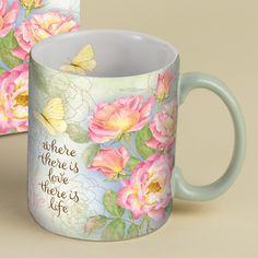 Botanical Inspiration Roses Coffee Mug 14oz , 5021043 | Lang