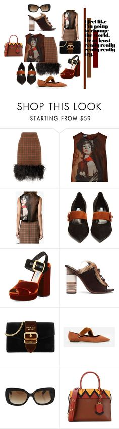 """""""The Girl In A Tweed Skirt!"""" by lheijl ❤ liked on Polyvore featuring Prada, Tory Burch and CHARLES & KEITH"""