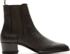 """Lizard-embossed leather chelsea boots in black. Almond toe. Elasticised panels at sides. Textile pull-tab at inner heel collar. Stacked heel. Tonal leather sole. Tonal stitching. Approx. 1.75"""" heel."""