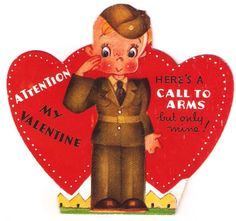 Vintage Valentine Soldier Boy Call to Arms WWII