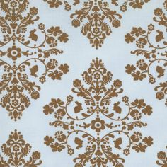 Lily & Will mocha brown blue damask shabby quilting fabric Bunny Hill Designs baby nursery 1 yd 2802-20. $9.00, via Etsy.