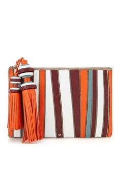 Color block clutch with tassels by Anya Hindmarch