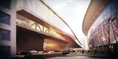Parsa Khalili and ATELIERPAP Propose Public Plazas and Open Plans for The Busan Hub of Creative Economy,Canyon Rendering. Image Courtesy of Parsa Khalili