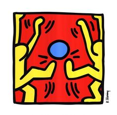 Untitled, 1988 (two yellow kickers), Art Print by Keith Haring