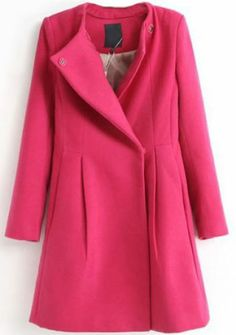 Rose Red Lapel Long Sleeve Slim Woolen Coat pictures