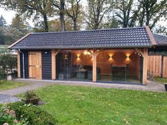 Douglas Tuinkamer Maasbommel 570 Backyard Pavilion, Backyard Buildings, Backyard House, Backyard Studio, Pergola Patio, Backyard Storage Sheds, Backyard Sheds, Backyard Landscaping, Back Garden Design