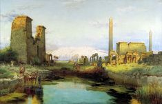 Egypt , Old Cairo Paintings: Carl Wuttke (German, 1849-1927) - The Tempel Of Karnak 1911