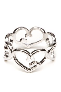Foreign Exchange :: ACCESSORIES :: SILVER VINE HEART SHAPES RING