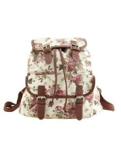 Floral Print Canvas Backpack Charlotte Russe