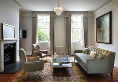 Refurbished period home in Richmond that we completed. The classic interior decor works beautifully with the period features. Cottage Living Rooms, Living Room Decor, Interior Design Living Room, Interior Decorating, Architects London, Residential Architect, Richmond Hill, Classic Interior, Small Spaces