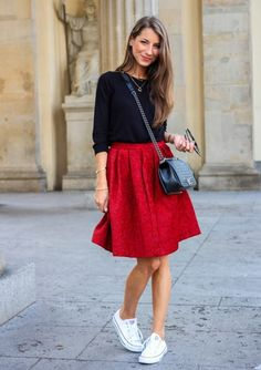 Black long sleeve+red midi skirt+white sneakers+black crossbody+sunglasses. Fall Everyday Outfit 2016