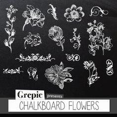 """Chalkboard clipart flowers: Digital clipart """"CHALKBOARD F..."""
