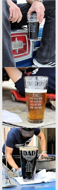 Father's Day Gift Ideas Beer Glass for Dad with kids' birth date on it. ScissorMill.com #scissormill