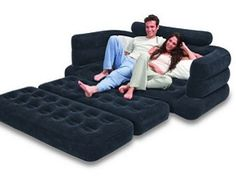 Blow up pull out couch!!! Whhhaaaatttt?! This would be awesome to camp with!