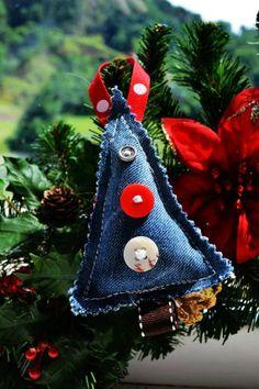 Denim Christmas Tree Ornaments