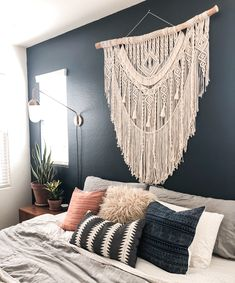 macrame headboard, geometric wall art decoration, large wall hanging, Bohemian Home Decor tapestry, Handmade Home Decor, Diy Home Decor, Wall Decor Crafts, Wall Art Decor, Macrame Design, Macrame Projects, Cozy Bed, Home And Deco, Boho Decor