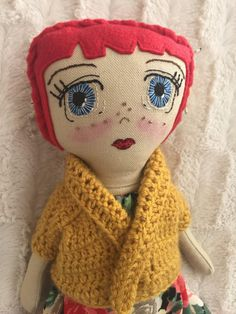 Handmade doll made from cotton fabric with a embroidered face. Her dress is cotton and her jacket is made with polyester wool. Her hair is fleece with cotton felt flowers. Tea Party Setting, Doll Face, Felt Flowers, Softies, Doll Toys, Doll Clothes, Sewing Projects, Cotton Fabric, Creations