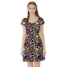 7b98a5a674 CowCow Womens Colorful Watercolor Gem Pattern Short Sleeve Skater Dress at  Amazon Women s Clothing store