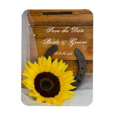 Sunflower Horseshoe Western Wedding Save the Date Magnet