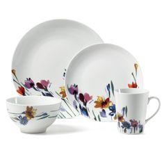 Watercolor Garden 16 Piece Dinnerware Set