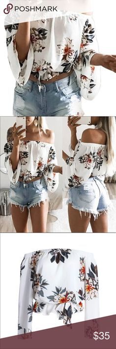 🌼 Off the shoulder floral printed boho crop top Beautiful blouse with a neutral and elegant floral pattern. Elastic neck line to be worn off the shoulder. Loose and flowing fit. Optional sash included, but is not attached to the top. Top can be worn with or without it. Soft feminine chiffon material. Absolutely stunning in person! Runs on the smaller size  so please measure carefully. Bundle to save. Last photo is mine taken in natural lighting, no adjustments made . Tops Blouses
